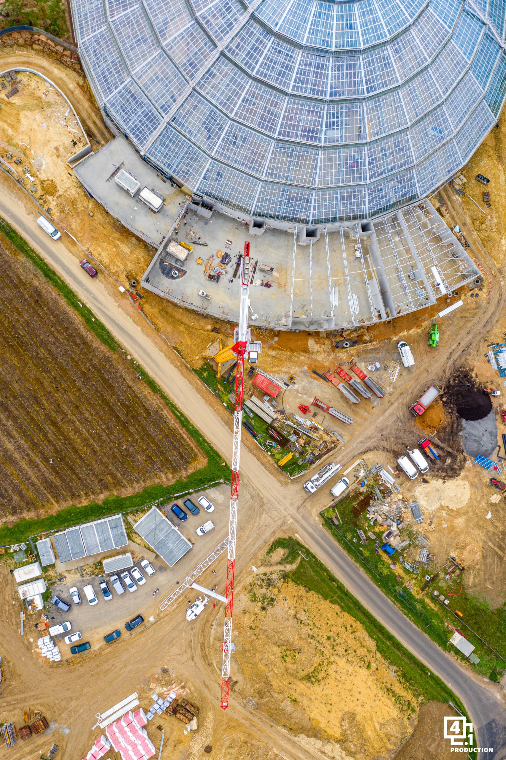 Construction du dôme équatorial de Beauval