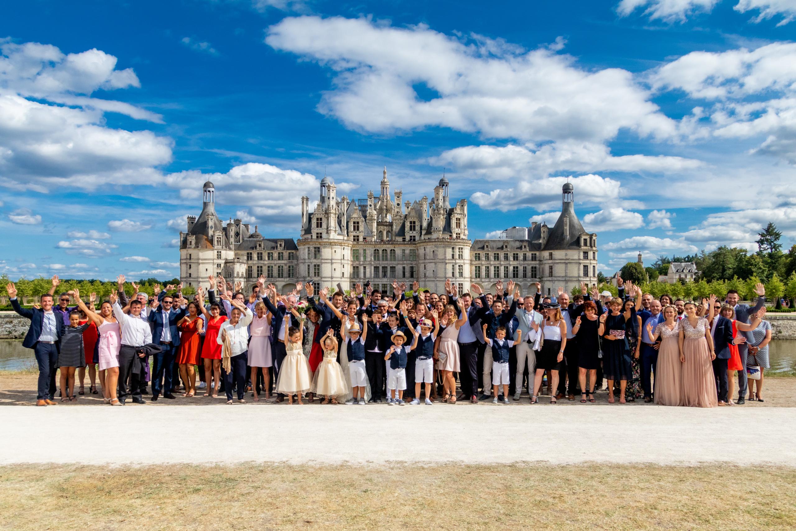 Photo de mariage - Groupe à Chambord